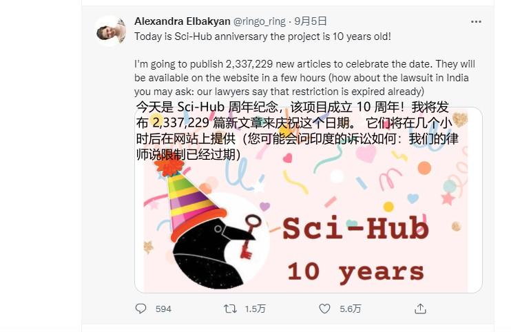 2021年9月,Sci-Hub成立十周!作者一口气更新233万篇论文,免费文献总数近8800万